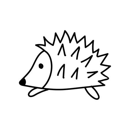 Black outline of a hedgehog on a white background. Doodling. Vector