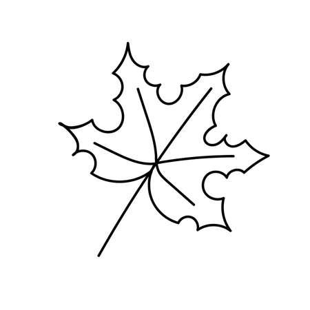 Black outline of a maple leaf on a white background. Vector. Doodling