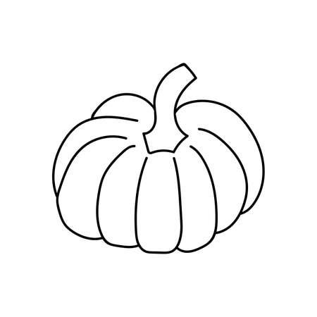 Black outline of a pumpkin on a white background. Vector. Doodling