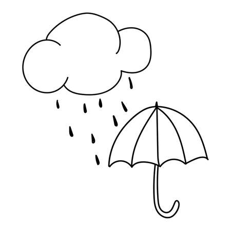 Black outline of a cloud with rain and an umbrella on a white background. Vector. Doodling