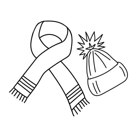 Black outline of a warm scarf and hat on a white background. Vector. Doodling  イラスト・ベクター素材