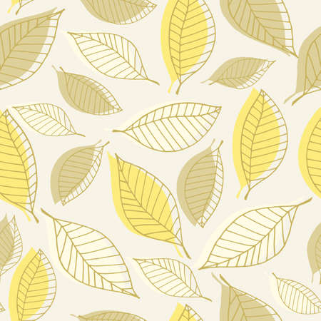 Seamless pattern with autumn leaves on a light background. Vector illustration EPS10