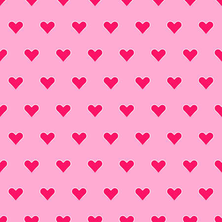Seamless pattern with hearts on pink background. Vector graphics.