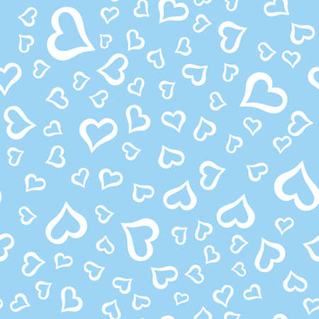 Seamless pattern with white hearts on a blue background. Vector graphics. Suitable for the background of postcards, posters, printing on fabrics, covers.