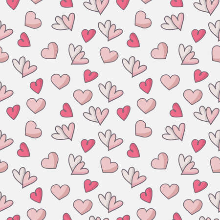 Seamless pattern with white hearts on pink background. Vector graphics