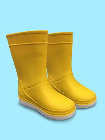 Yellow rubber boots isolated on white. Yellow rubber boots on blue background
