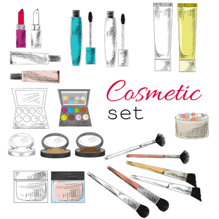 maquillage: decorative cosmetic set. Sketch style illustration. colorless and colorful objects. Hand draw.