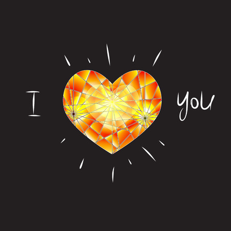 coeur diamant: Jaune diamant coeur sur fond noir Illustration