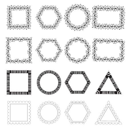 marcos redondos: illustartion vector. Conjunto de marcos de color negro. Capítulos con el patrón. Garabatos marco frame.Triangular, marco cuadrado, marco redondo, marco rectangular. Marco de la flor. fotogramas aislados. Vectores