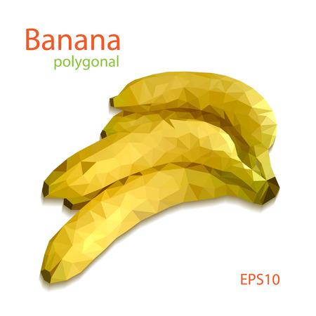 patch of light: Yellow polygonal banana on white background. Vector illustration. Illustration