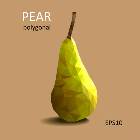 patch of light: Polygonal green pear on light background. Vector picture.
