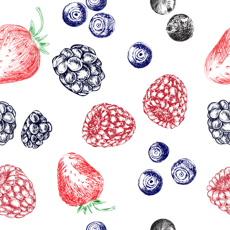 drupe: seamless vector pattern of berries. hand drawn colorfull illustration.