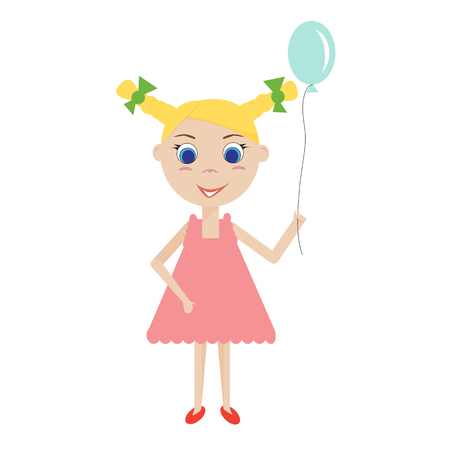 lassie: Isolated glad young blond girl with a blue balloon. The girl in a pink dress. Vector flat illustration. Illustration
