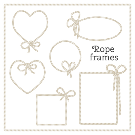 brawn: Vector set of isolated frames with bow from rope. Heart frame, round frame, square frame, rectangular frame.