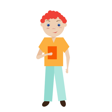 lassie: Isolated young curly redhead boy standing and holding a book. Boy in an orange shirt and blue trousers.  Vector flat illustration. Illustration