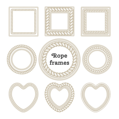 Vector set of isolated multilayer frames from rope. Heart frame, round frame, square frame.