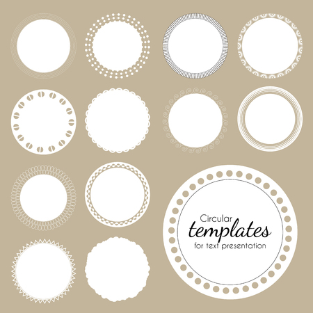 openwork: Set of round white templates for text. Vector illustration. Isolated frames for advantage or presentation. White circles with openwork pattern on edge.