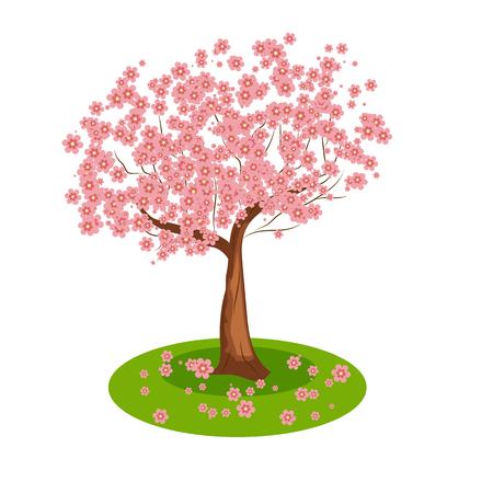 Isolated cartoon sakura tree one tree blooms pink flowers royalty isolated cartoon sakura tree one tree blooms pink flowers stock vector 57126732 mightylinksfo