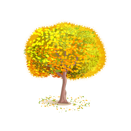 deciduous: Isolated autumn tree on a white background. Deciduous tree with yellow leaves. Fallen leaves around the tree. Cartoon style. Illustration