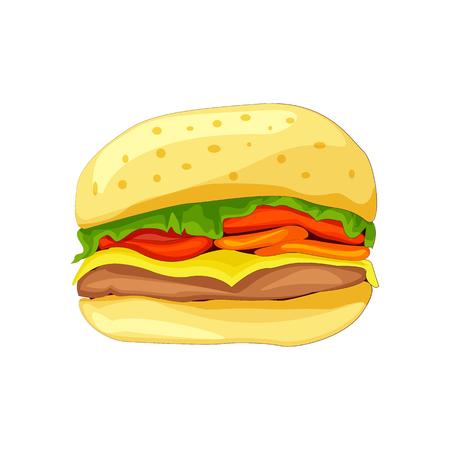 white bread: Sandwich with white bread, meatballs, tomato, cheese, salad. Illustration