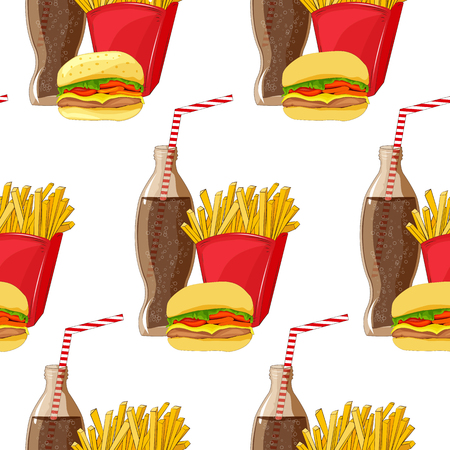 aerated: Seamless pattern of fast food products Illustration