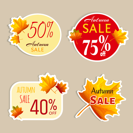 Set of isolated stickers with autumn leaves. Autumn sale. Illustration