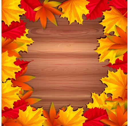 ligneous: Abstract background with autumn leaves and wooden base.
