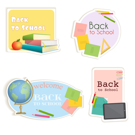Stickers of various shapes with school supplies. Soon the school.