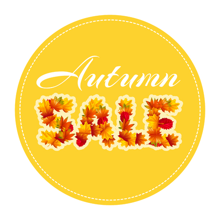 Autumn sale. The text is made up of autumn leaves. Vector illustration for bussines presentation. Cartoon style.