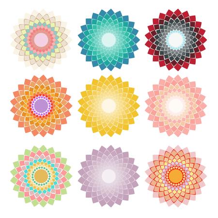 greeen: Set circular geometric elements for design. Vector illustration. Illustration