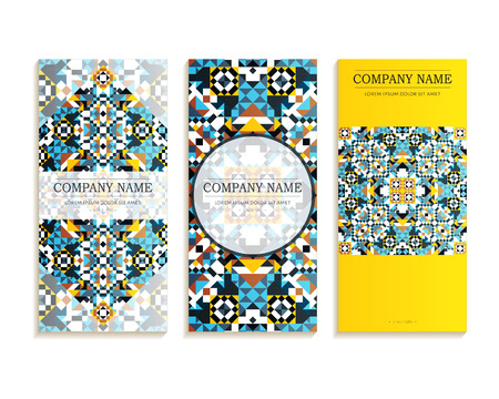 visiting card: Set of business cards. Template of cover design color mosaic pattern. Colored vector illustration for corporate identity, individual cards, form style.