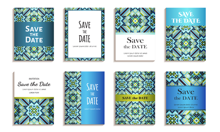 tessellated: Save the date. Set of cards with inscription. Vintage template colorful mosaic pattern. Colored vector illustration for congratulation or invitation.