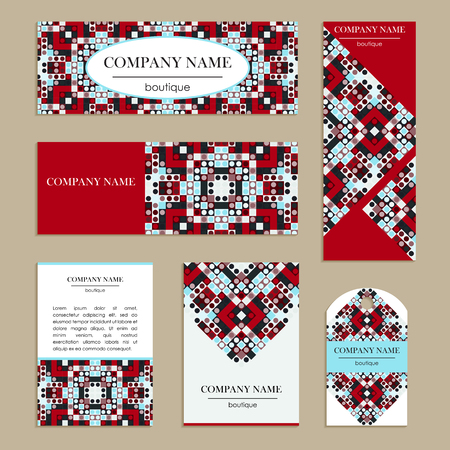 tessellated: Set of business cards. Template of cover design with geometric mosaic pattern. Colored vector illustration for corporate identity, individual cards, form style.