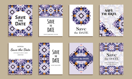 bue: Save the date. Set of cards with inscription. Vintage template colorful mosaic pattern. Colored vector illustration for congratulation or invitation.