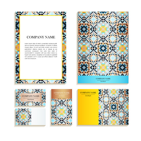 tessellated: Set of business cards. Template of cover design color mosaic pattern. Colored vector illustration for corporate identity, individual cards, form style.