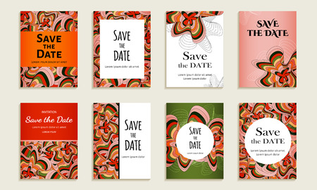 felicitation: Save the date. Set of cards with inscription. Vintage template colorful pattern. Colored vector illustration for congratulation or invitation.