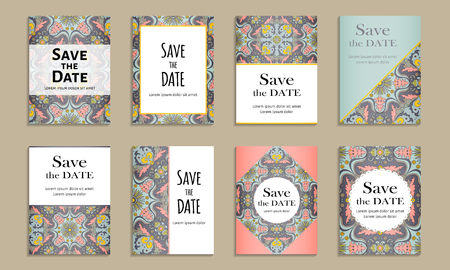 the inscription: Save the date. Set of cards with inscription. Vintage template colorful pattern. Colored vector illustration for congratulation or invitation.