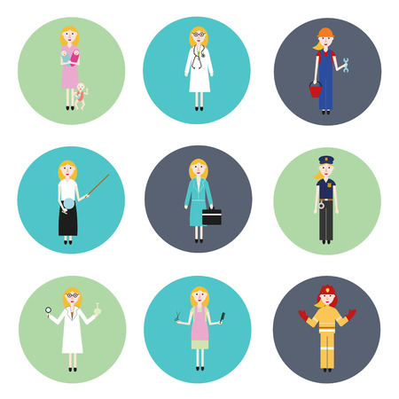 handcuffs female: Set of women of different professions. Nine different professions Illustration