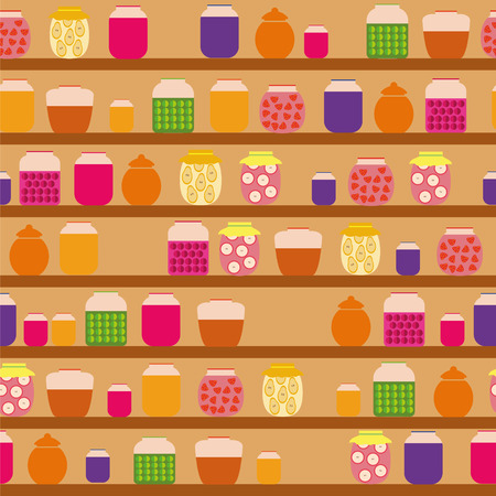 Pattern with glass jars of jam that are on the shelves in the pantry Vector