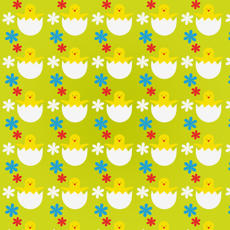 appear: Bright pattern with Easter Chicks and flowers Illustration