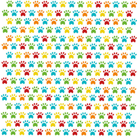 speckle: The pattern of colored cat footprints on white background