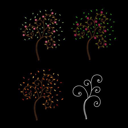 tuck: Tree in the spring, summer, autumn and winter on black background Illustration