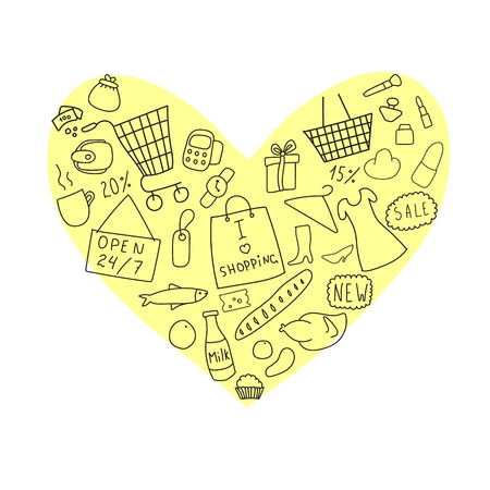 second hand: Various elements of shopping on the background of yellow heart