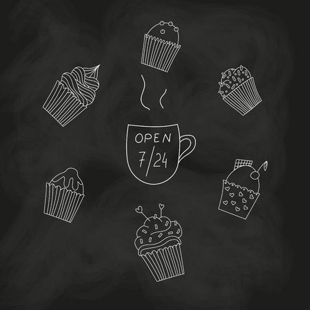 Cupcakes on blackboard Vector