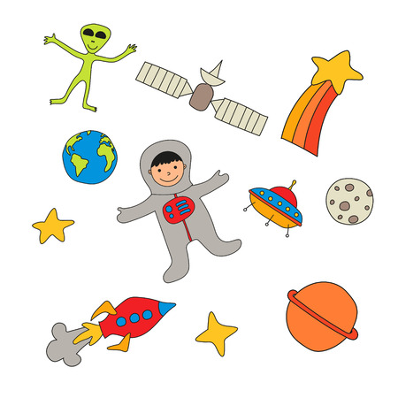 lunar rover: Set of cute baby space characters and objects
