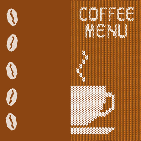 crocheted: Menu for a coffee shop with a cup of coffee and beans on a crocheted background