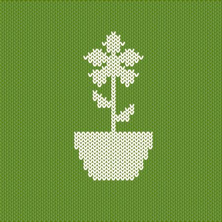crocheted: Cute crocheted flower on green background Illustration