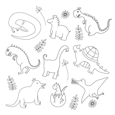 Set of funny doodle dinosaur Vector