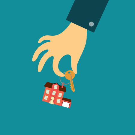 estate agent: Vector real estate concept in flat style - hand of a real estate agent holding a key with a tag in the form of home