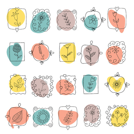Set of spring doodle flowers and plants on the background of colored spots Vector